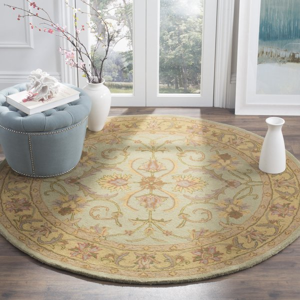 Green, Gold (A) Traditional / Oriental Area-Rugs