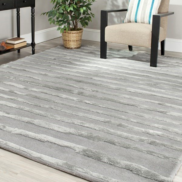 Grey (A) Striped Area Rug