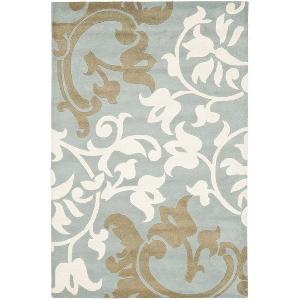 Blue (B) Floral / Botanical Area Rug