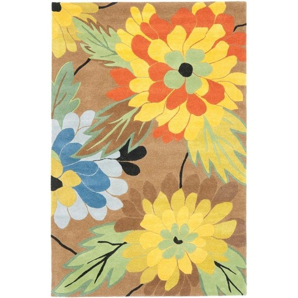 Brown (A) Floral / Botanical Area-Rugs