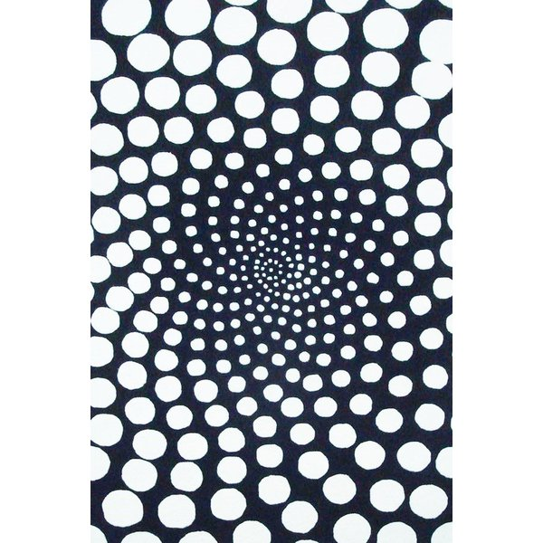 Black, Ivory (B) Contemporary / Modern Area Rug