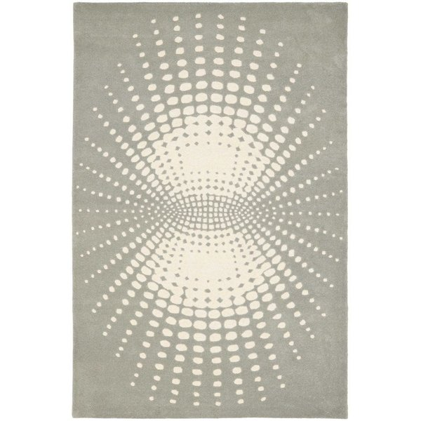Grey, Ivory (A) Contemporary / Modern Area Rug