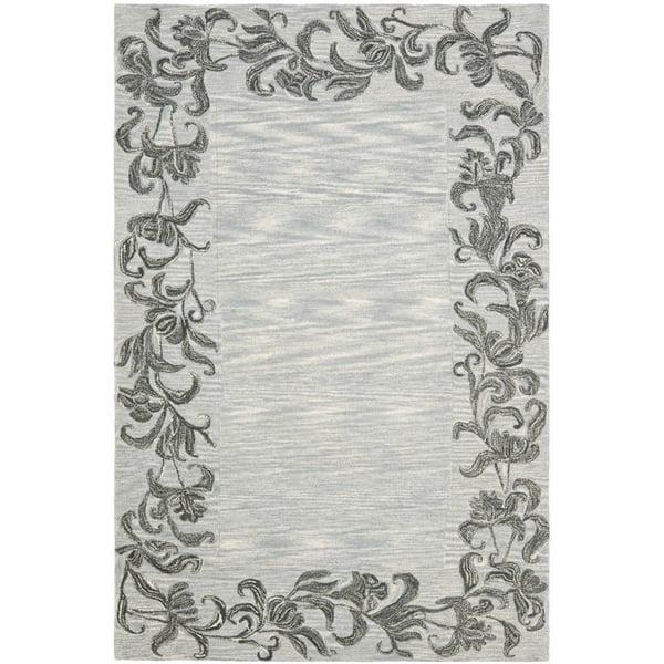 Silver, Grey (A) Floral / Botanical Area Rug