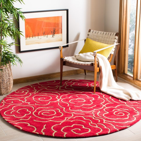 Red (A) Contemporary / Modern Area Rug
