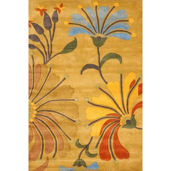 Golden Olive (A) Floral / Botanical Area Rug