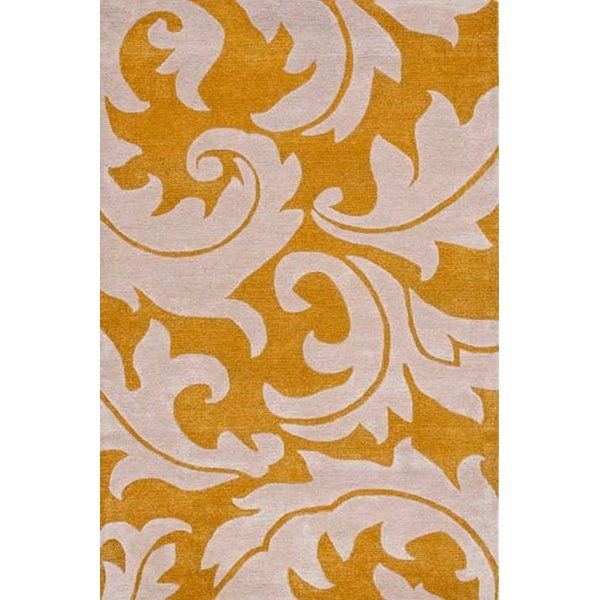 Gold, Ivory (A) Floral / Botanical Area-Rugs