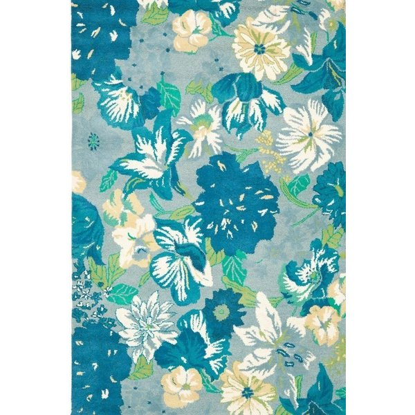 Blue (A) Floral / Botanical Area Rug
