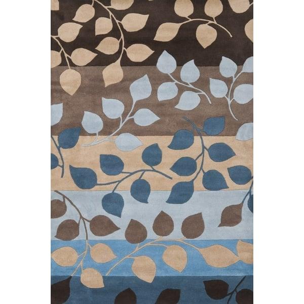 Brown, Blue (B) Floral / Botanical Area Rug