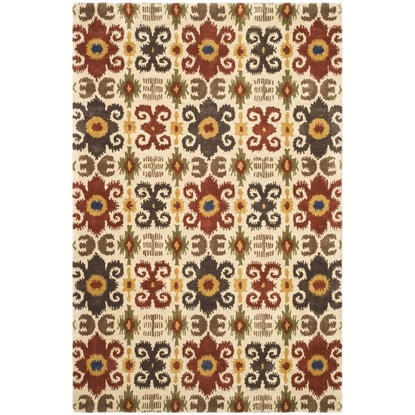 Ivory, Red (A) Bohemian Area Rug