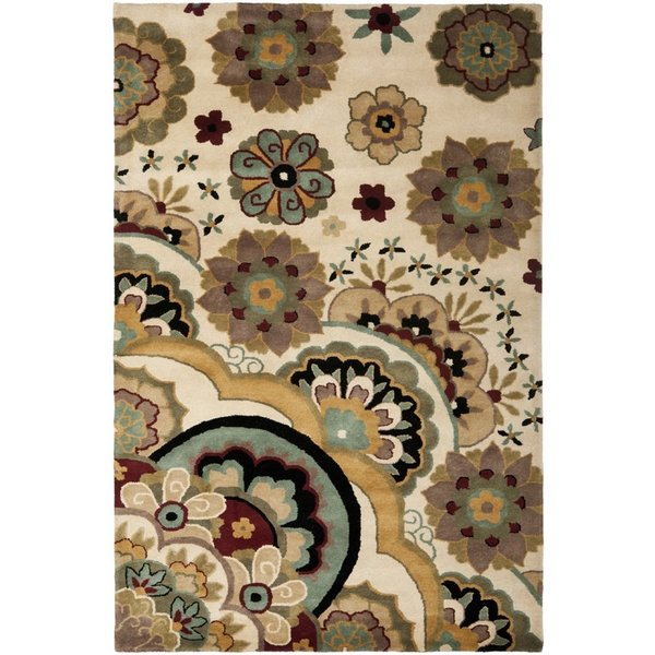 Ivory (A) Floral / Botanical Area-Rugs