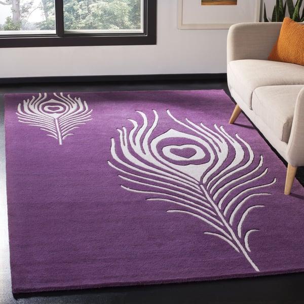 Purple, Ivory (A) Contemporary / Modern Area Rug