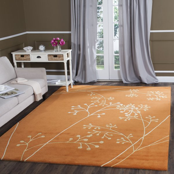 Rust (D) Floral / Botanical Area-Rugs
