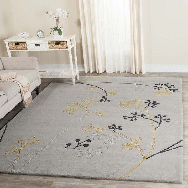 Grey (G) Floral / Botanical Area-Rugs