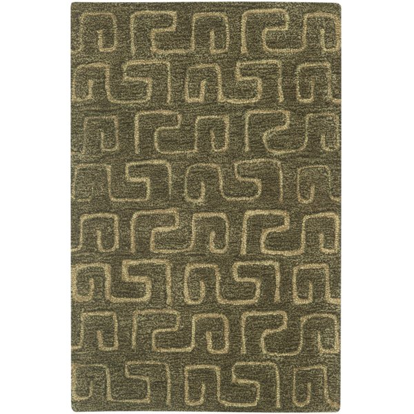 Brown, Gold (C) Contemporary / Modern Area Rug
