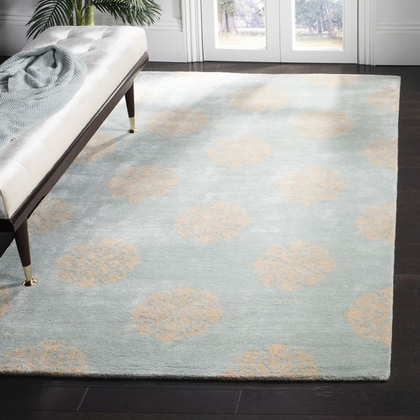Turquoise (A) Contemporary / Modern Area Rug