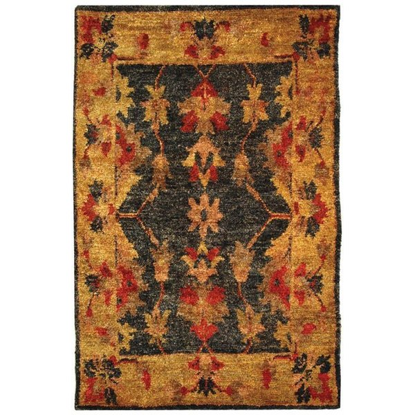Charcoal, Gold (A) Traditional / Oriental Area Rug