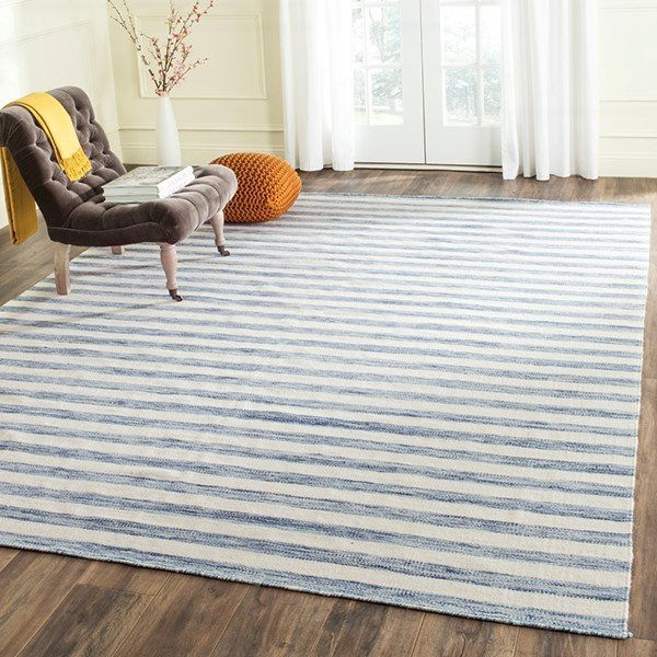 Blue, Ivory (B) Striped Area Rug