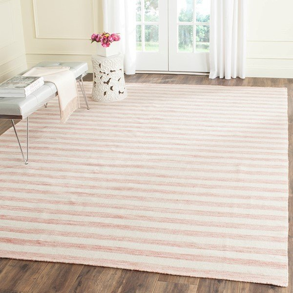 Rust, Ivory (D) Striped Area Rug