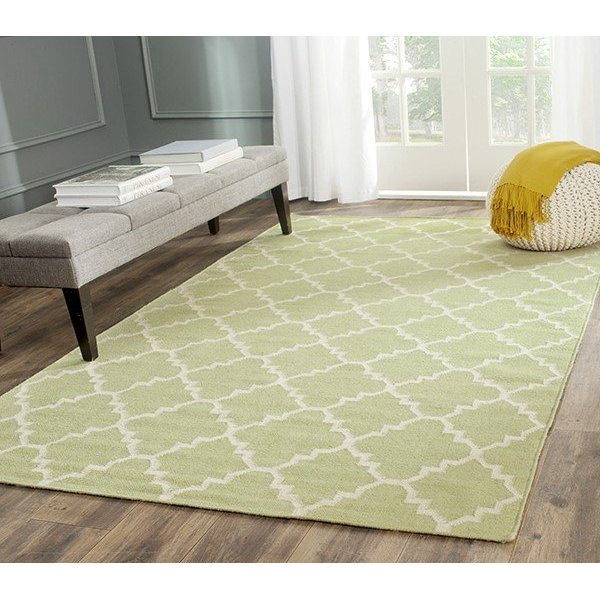 Light Green, Ivory (A) Contemporary / Modern Area Rug
