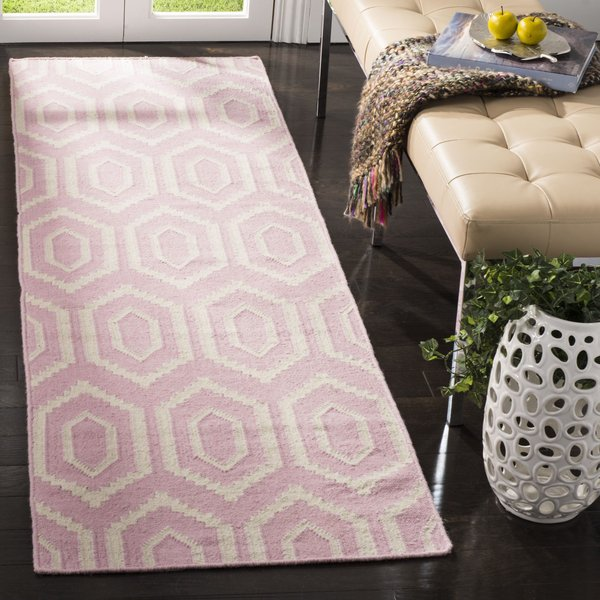 Pink, Ivory (C) Contemporary / Modern Area-Rugs