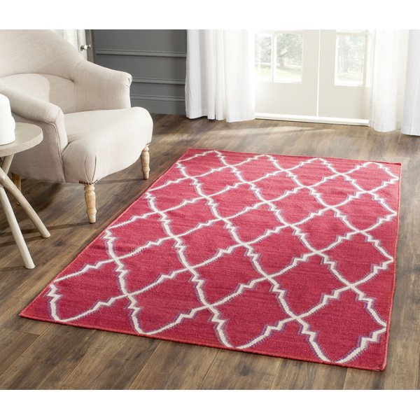 Red, Ivory (A) Contemporary / Modern Area Rug