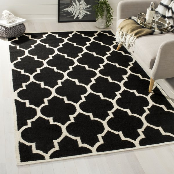Black, Ivory (A) Contemporary / Modern Area-Rugs