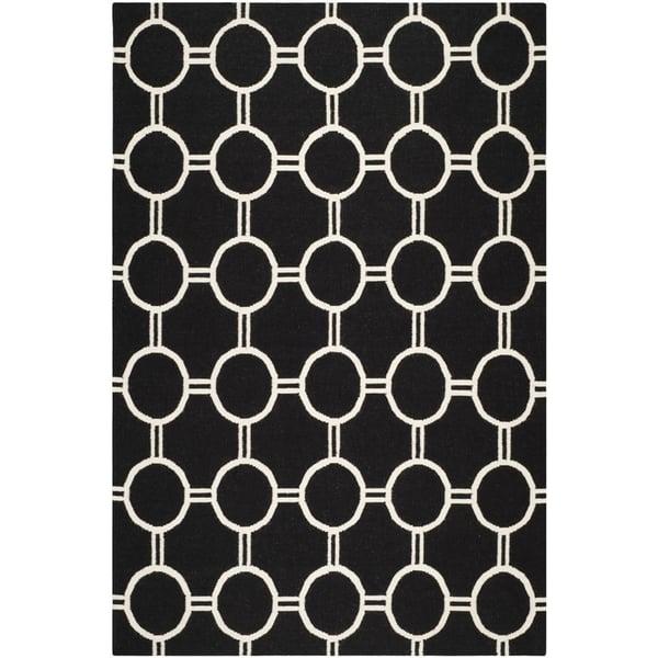 Black, Ivory (A) Geometric Area Rug
