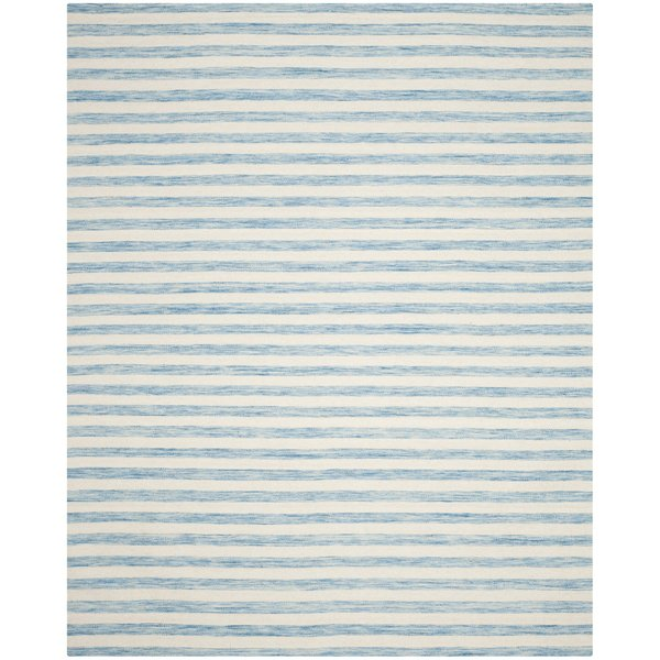 Aqua, Ivory (C) Striped Area Rug