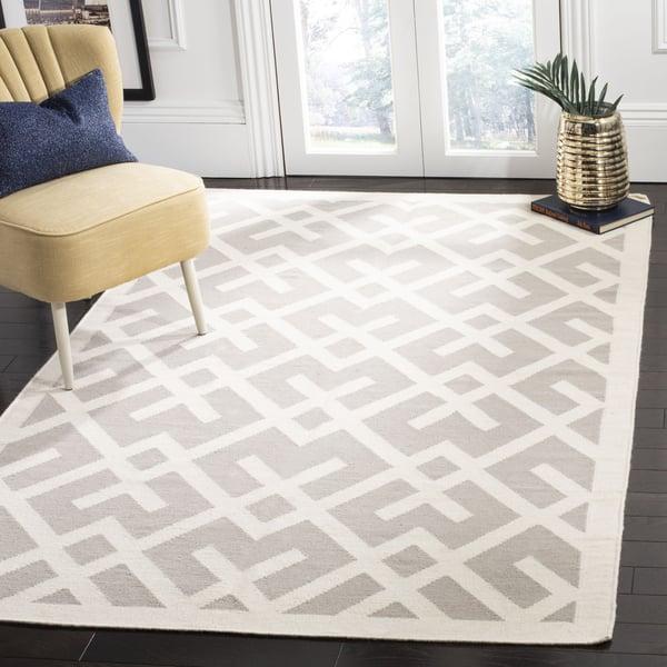 Grey, Ivory (G) Contemporary / Modern Area Rug