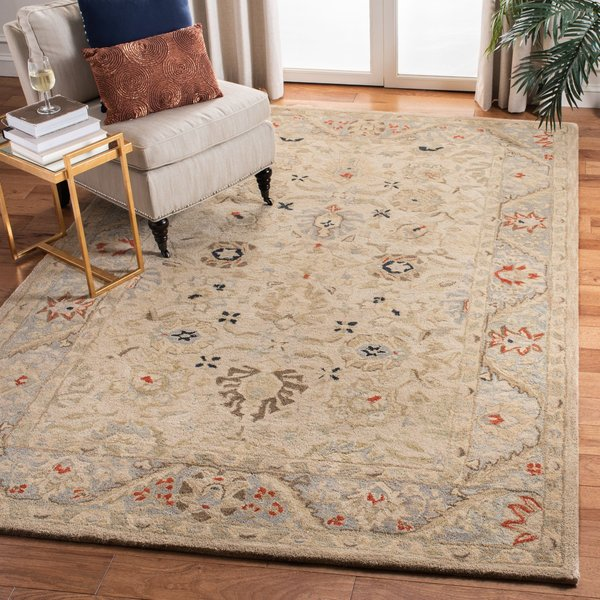 Natural, Soft Turquoise (C) Traditional / Oriental Area Rug
