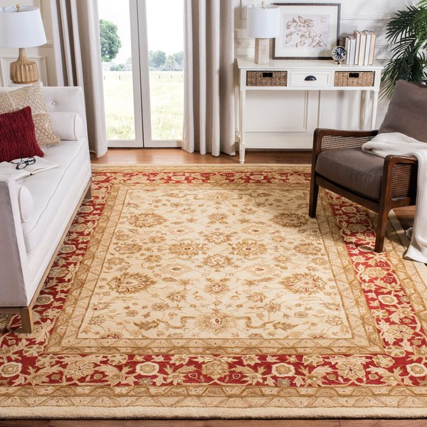 Ivory, Red (C) Traditional / Oriental Area Rug