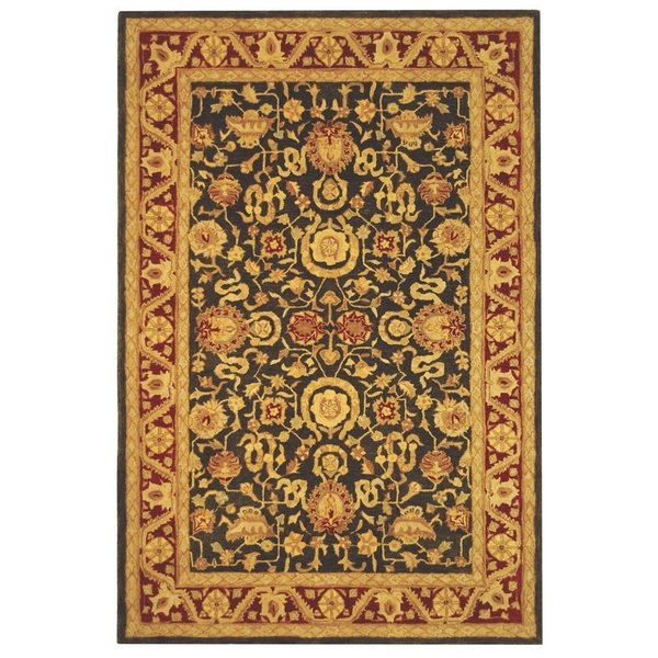 Charcoal, Red (B) Traditional / Oriental Area Rug