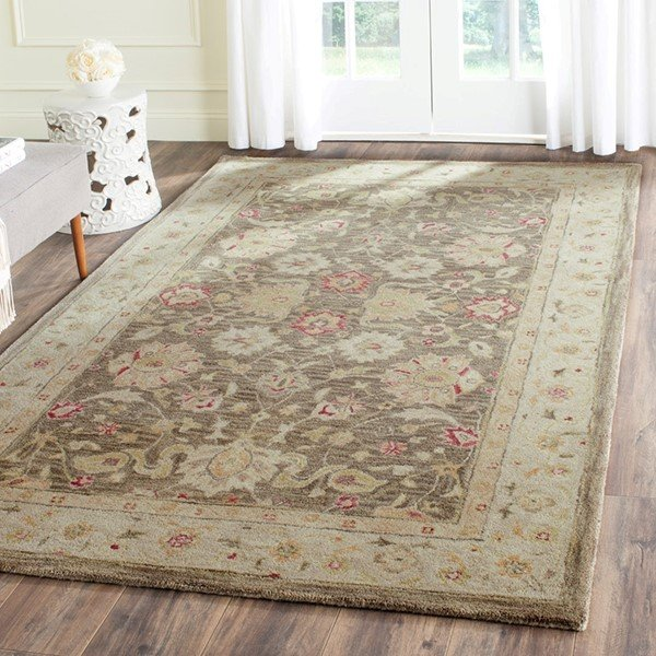Olive Grey, Beige (A) Traditional / Oriental Area Rug