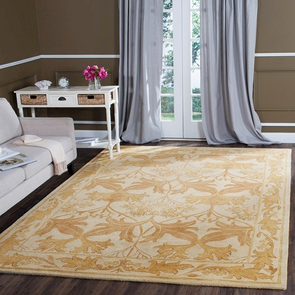 Beige, Gold (B) Traditional / Oriental Area Rug