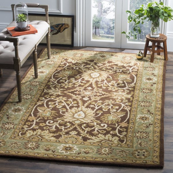 Chocolate, Blue (D) Traditional / Oriental Area Rug
