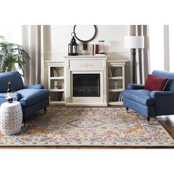 Blue, Gold (M) Traditional / Oriental Area Rug