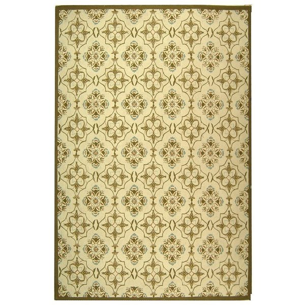 Ivory, Green (A) Contemporary / Modern Area Rug
