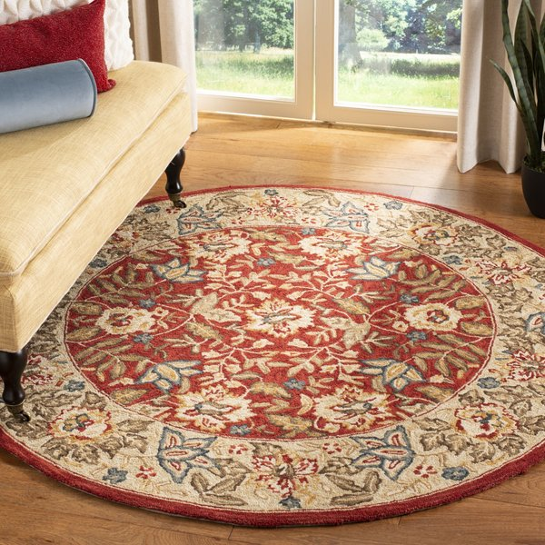 Red, Ivory (C) Traditional / Oriental Area Rug
