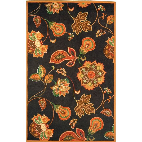 Black, Orange (C) Floral / Botanical Area Rug