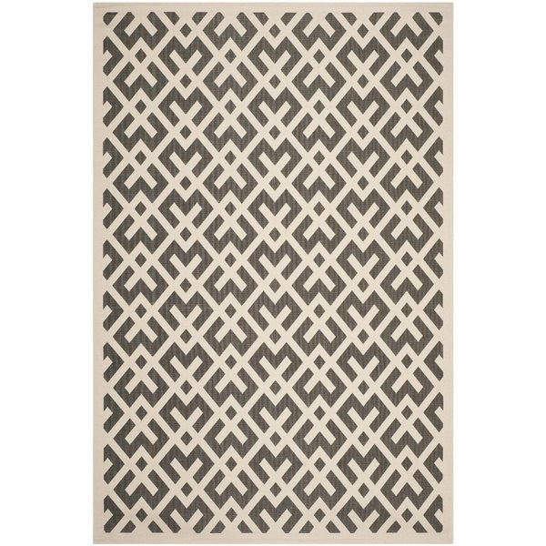Beige, Black (256) Contemporary / Modern Area Rug