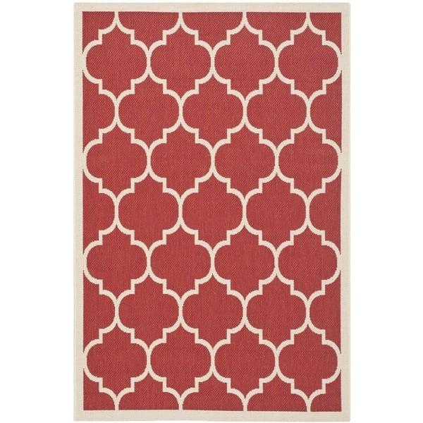 Red, Bone (248) Contemporary / Modern Area Rug