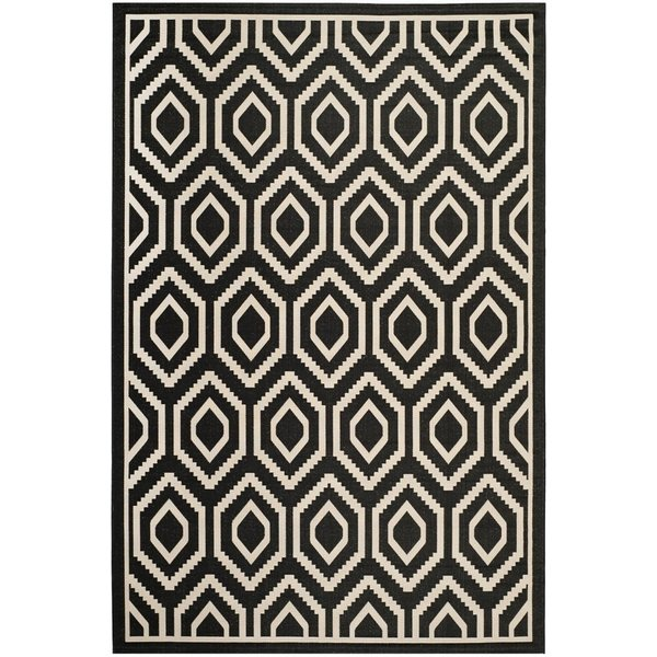 Black, Beige (266) Contemporary / Modern Area Rug