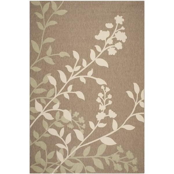 Brown, Beige (242) Floral / Botanical Area Rug