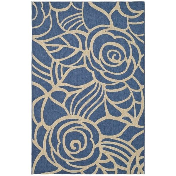 Blue, Beige (C) Floral / Botanical Area-Rugs