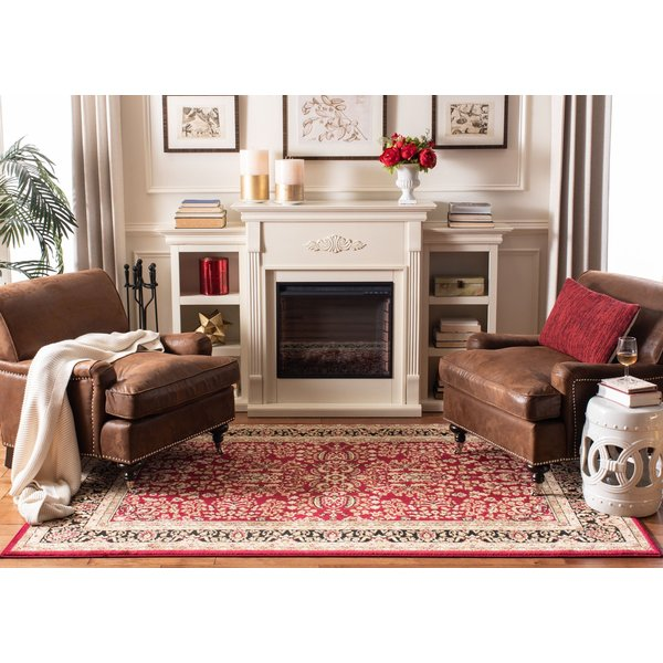 Red, Black (A) Traditional / Oriental Area Rug