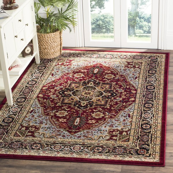 Red, Black (B) Traditional / Oriental Area Rug