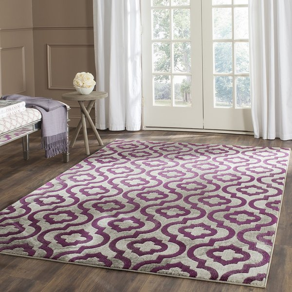 Light Grey, Purple (B) Contemporary / Modern Area Rug