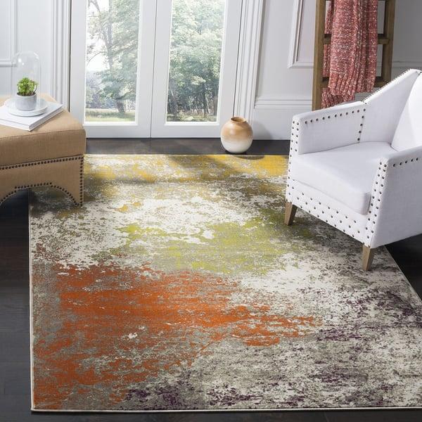 Grey, Orange (F) Contemporary / Modern Area Rug