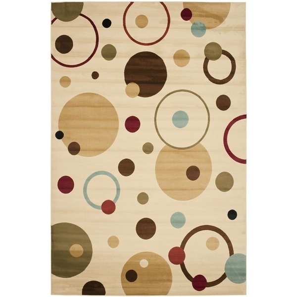 Ivory, Red (1291) Contemporary / Modern Area Rug