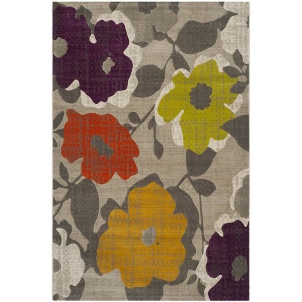Grey, Yellow (C) Contemporary / Modern Area Rug